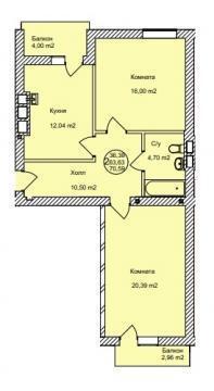 Двухкомнатная квартира в Зеленоградске