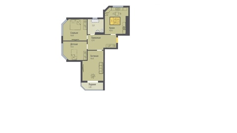 Трёхкомнатная квартира