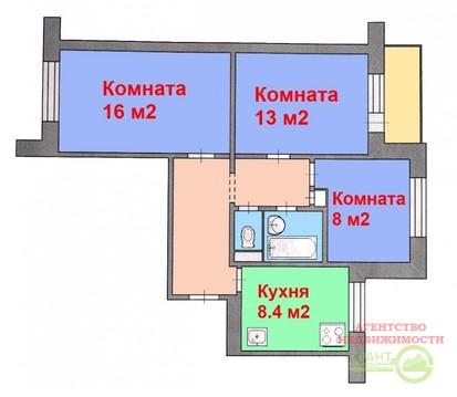 2 950 000 Руб., 3-х комнатная квартира 60 м2 в хорошем состоянии в центре Харьковской ., Купить квартиру в Белгороде по недорогой цене, ID объекта - 320658210 - Фото 1