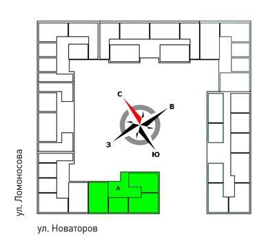 Продажа двухкомнатная квартира 61.30м2 в ЖК Квартал Новаторов секция а - Фото 2