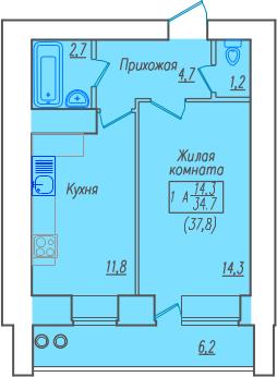 1-ком.квартира в новом кирпичном доме по ул.Советская 1 - Фото 2