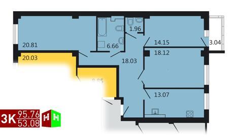 Продажа трехкомнатная квартира 95.76м2 в ЖК Дипломат - Фото 1