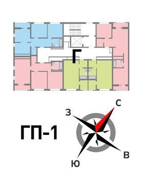 Продажа двухкомнатная квартира 59.70м2 в ЖК Солнечный гп-1, секция г - Фото 2
