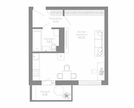 Квартира студия - Фото 4