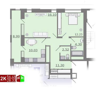 Продажа двухкомнатная квартира 56.48м2 в ЖК Каменный ручей гп-1 - Фото 1
