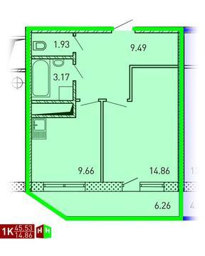 Продажа однокомнатная квартира 45.53м2 в ЖК Рощинский дом 7.2. секция . - Фото 1