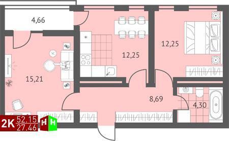 Продажа двухкомнатная квартира 52.15м2 в ЖК Суходольский квартал гп-1, . - Фото 1