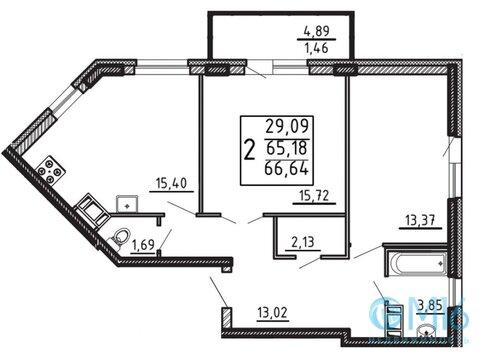 Продажа 2-комнатной квартиры, 66.64 м2 - Фото 1