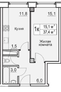 1 комн. квартира в ЖК Восточная Европа - Фото 2