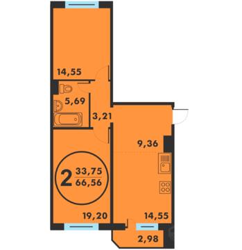 2 комн. квартира в новом доме, ул.Кремлевская, д. 89 - Фото 1