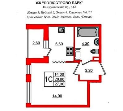 """Переуступка - студия 28.6м с ер на 4эт в ЖК""""Полюстрово Парк"""" - Фото 2"""
