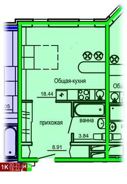 Продажа однокомнатные апартаменты 30.21м2 в Апарт-отель Юмашева 6 - Фото 1