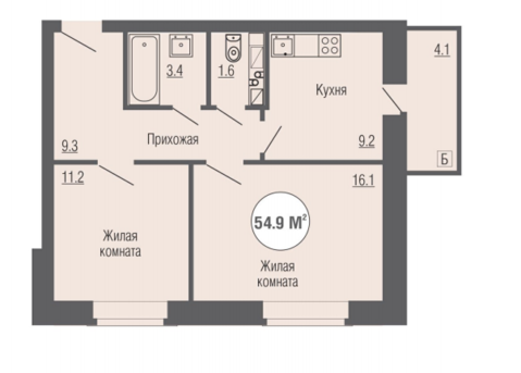 """2х комнатная Квартира в ЖК"""" Юность"""" 54,9 кв. м"""