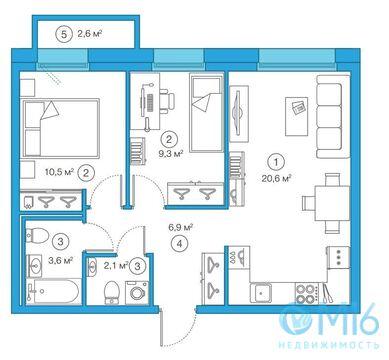 Продажа 2-комнатной квартиры, 53.04 м2 - Фото 2