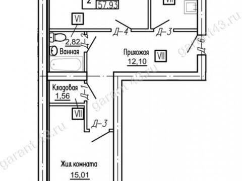 Продажа двухкомнатной квартиры в новостройке на Проезжей улице, 31 в ., Купить квартиру в Кирове по недорогой цене, ID объекта - 319841267 - Фото 1