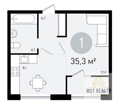Однокомнатная квартира в современном доме - Фото 2