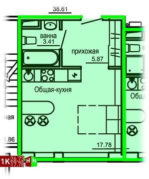 Продажа однокомнатные апартаменты 26.73м2 в Апарт-отель Юмашева 6 - Фото 1