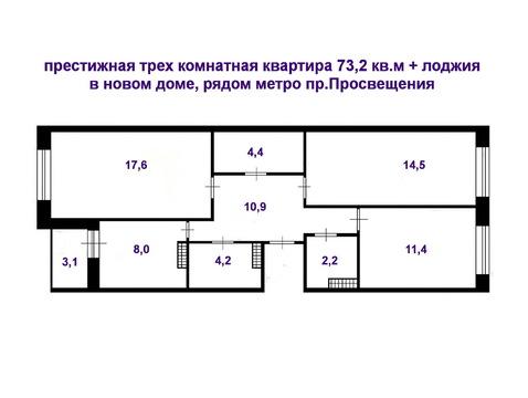 Продаю престижную трех к.кв в новом доме рядом с М.Просвещения - Фото 1