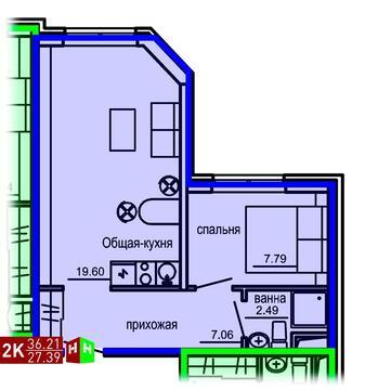 Продажа двухкомнатные апартаменты 36.21м2 в Апарт-отель Юмашева 6 - Фото 1