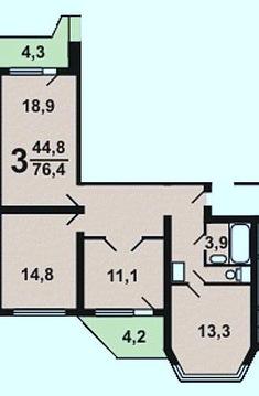 3-комнатная квартира Исаковского 6 корп. 3 - Фото 2