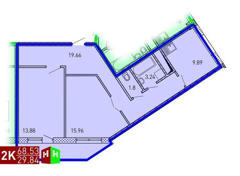 Продажа двухкомнатная квартира 68.53м2 в ЖК Рощинский дом 7.2. секция ., Купить квартиру в Екатеринбурге по недорогой цене, ID объекта - 315127679 - Фото 1