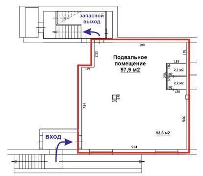 Подвальное помещение 98 м2 на ул. Парковая, 16 - Фото 1