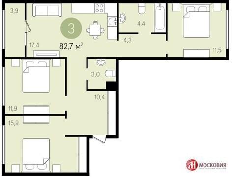 3-комнатная квартира в г.Видное - Фото 1