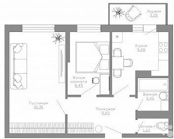 2х-комнатная квартира 50 кв.м. в Яблоневом пасаде - Фото 3