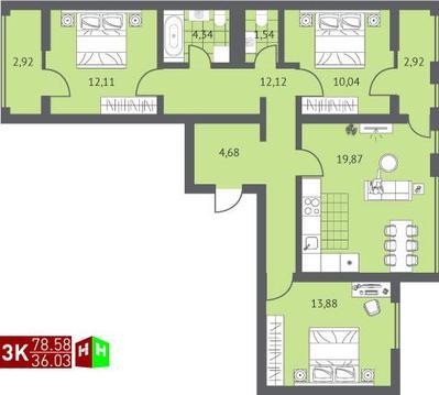 Продажа трехкомнатная квартира 78.58м2 в ЖК Суходольский квартал гп-1, . - Фото 1