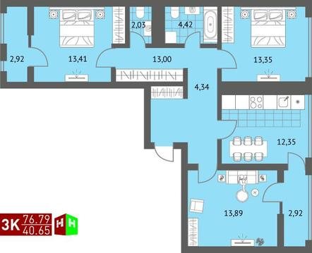 Продажа трехкомнатная квартира 76.79м2 в ЖК Суходольский квартал гп-1, . - Фото 1