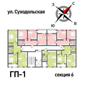 Продажа двухкомнатная квартира 52.15м2 в ЖК Суходольский квартал гп-1, . - Фото 2
