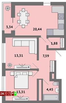 Продажа двухкомнатная квартира 60.98м2 в ЖК Солнечный гп-1, секция к - Фото 1