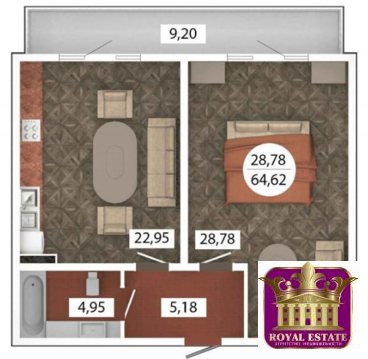 Продам 1 комнатную квартиру 65 м2 в ЖК «Castle Houses» - Фото 1