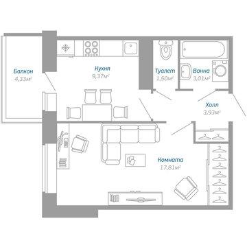 Продажа 1-комнатной квартиры, 36.92 м2, Воронцовский бульвар, к. 3 - Фото 1