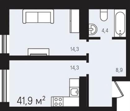 """Продаётся 1к квартира в ЖК """"Европейский"""", 42 кв.м. - Фото 2"""
