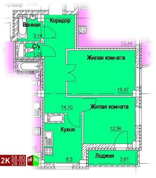 3 292 800 Руб., Продажа двухкомнатная квартира 58.80м2 в ЖК Европейский кольцевая 36, Купить квартиру в Екатеринбурге по недорогой цене, ID объекта - 315127593 - Фото 1