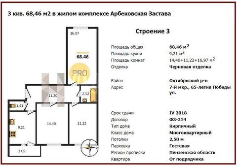 Продам 3-комн. кв. 68.46 кв.м. Пенза, Генерала Глазунова - Фото 1