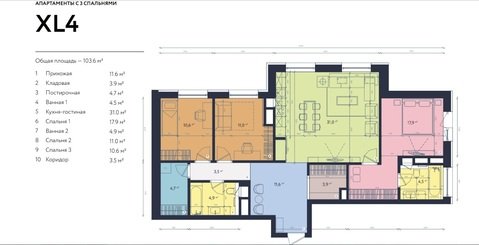 """ЖК """"Only""""-апартамент 104кв.м. с отделкой,3 спальнями и кухней-гостиной - Фото 1"""