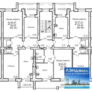 1 комнатная квартирав новом доме, Уютная, 1 - Фото 2