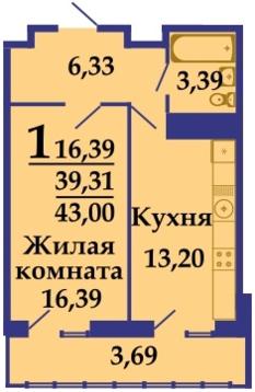 ЖК Фамилия литер 1,1 ккв 43 м2 - Фото 3