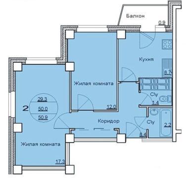 Продается 2-х комнатная квартира в новостройке (Советском районе)