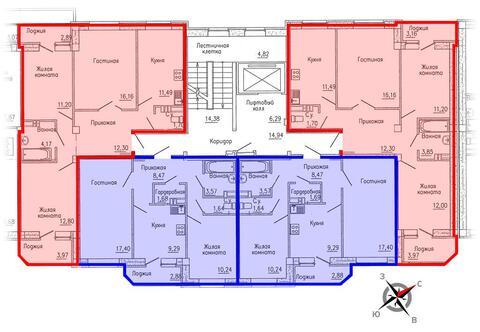 Продажа двухкомнатная квартира 55.17м2 в ЖК Кольцовский дворик дом 1. . - Фото 2