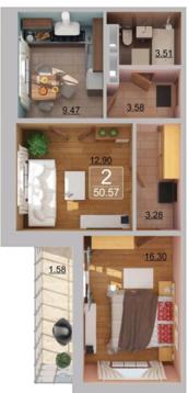 ЖК 21 Век продается двухкомнатная квартира Альберта Камалеева 6.24 - Фото 4