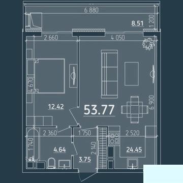 1-к квартира, 53.8 м2, 7/18 эт. - Фото 5