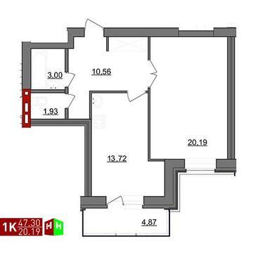 Продажа однокомнатная квартира 47.30м2 в ЖК Чистые пруды дом 4 - Фото 1