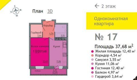 Продажа 1-комнатной квартиры, 37.68 м2, Березниковский переулок, д. 38 - Фото 1