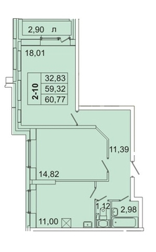 5 594 470 Руб., Продам 2к. квартиру. Кондратьевский пр-кт, д.58 к.2-1, Купить квартиру в Санкт-Петербурге по недорогой цене, ID объекта - 317898539 - Фото 1