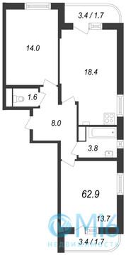Продажа 2-комнатной квартиры, 62.9 м2 - Фото 1