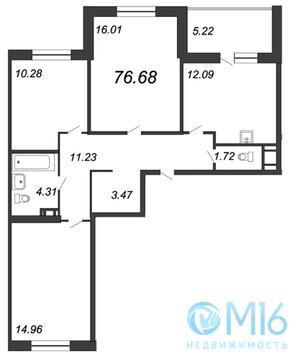Продажа 3-комнатной квартиры, 76.68 м2 - Фото 2