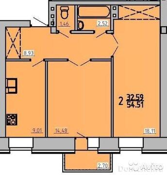 2-к квартира, 54.5 м, 2/3 эт. - Фото 1